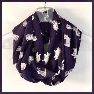 Cat Lovers Purple Kitty Cat Infinity Scarf Wrap OS